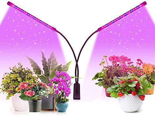 Luz LED de crecimiento de plantas, lámpara de crecimiento de espectro completo, 8 niveles regulables, 2 cabezales para plantas de interior, encendido y apagado automático, para invernadero de jardín