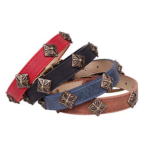 Verstellbares Hundehalsband Metalldekoration Bequemes Haustierhalsband aus schwarzem Leder für kleine Hunde Verstellbares Berufsausbildungshalsband für Welpen Nylon für Haustiere und täglich
