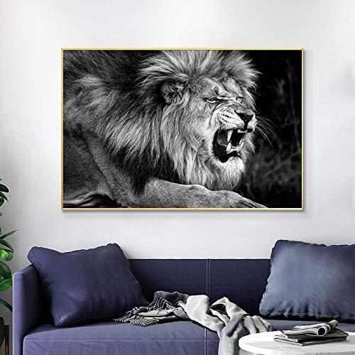 wZUN León Salvaje Animal Lienzo Pintura Carteles e Impresiones león rugiente Cuadro de Arte de Pared para decoración de Sala de Estar 60X90 Sin Marco