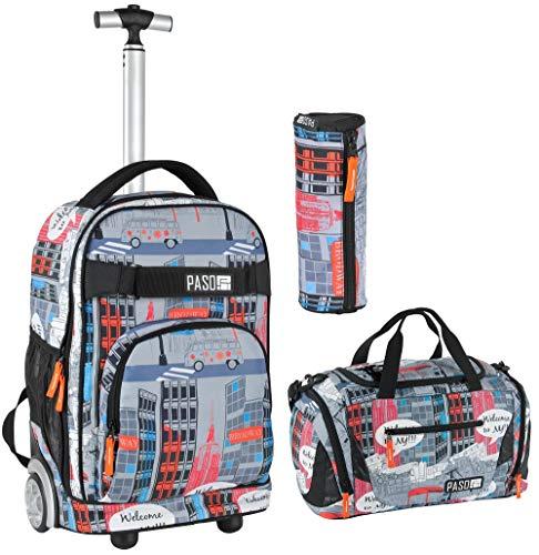Rucksacktrolley Schultrolley XL 35L | Rolly Schulrucksack Trolley Rucksack | Organizerfach | Set 3 teilig inkl. Stifteetui, Sporttasche