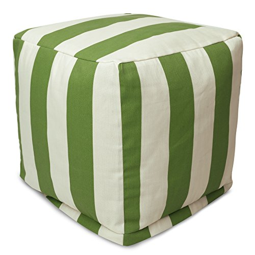 "Majestic Home Goods Sage Vertical Stripe Indoor / Outdoor Bean Bag Ottoman Pouf Cube 17"" L x 17"" W x 17"" H"