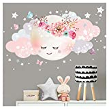 Little Deco Wandsticker Mond & Wolken I Weiß/Rosa L   60 x 31 cm (BxH) I Kinderzimmer Wandtattoo Mädchen Baby Deko Zimmer DL246 1 L