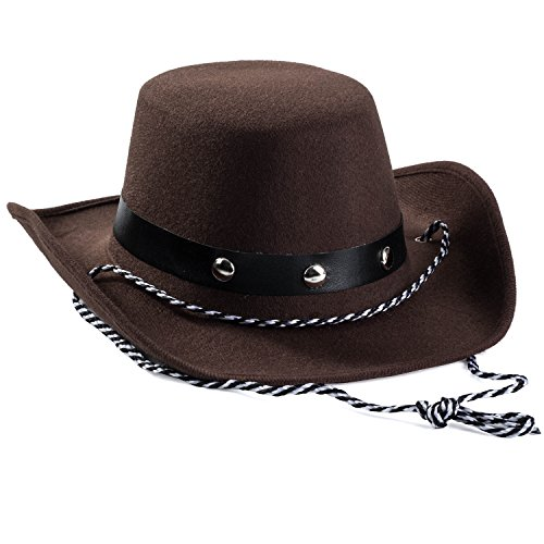 Funny Party Hats Baby Cowboy Hat - Cowboy Hat Toddler  Studded Cowboy Hat - Brown Felt Cowboy Hat - Cowboy Accessories