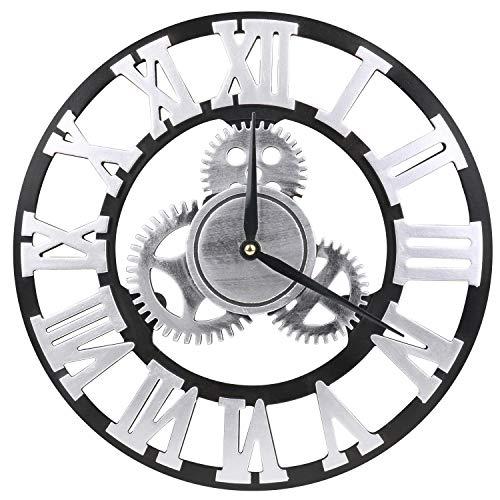 MEISTAR 掛け時計 静音 ギア 直径34cm 壁掛け時計 木製 レトロ 歯車 掛時計 インテリア時計 おしゃれ ギフト ローマ数字 銀掛け時計