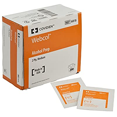 Covidien 6818 Webcol Alcohol Prep, Sterile, Medium, 2-Ply (Pack of 200)