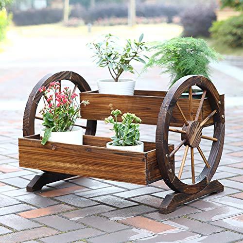 Zhyaj Bois Surélevé Lit De Jardin Planteur 2 Roues Table Rectangulaire Jardiner pour Niveaux Légumes Crop Herb Flower,Marron,70 * 48 * 50cm