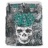 Nitian Skull Chic Design Bed Set Bettbezug Set Light Breathable Einzelbett ropa de cama para niños 100% poliéster, poliéster, blanco, 264x229cm