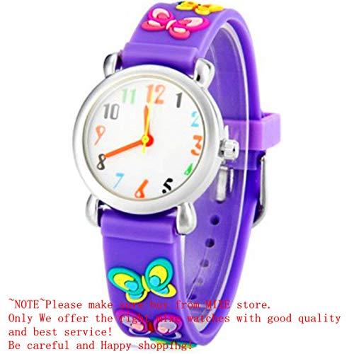Mixe Waterproof 3D Cute Cartoon Digital Silicone Wristwatches Time Teacher Gift for Little Girls Boys Kids Children (Purple Butterfly)