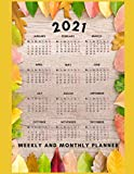 2021 Weekly and Monthly Planner: 2021 Planner Weekly and Monthly - January to December, Calendar Schedule with holiday + Agenda Organizer, Large size Vintage Flowers for perfect gift for friends