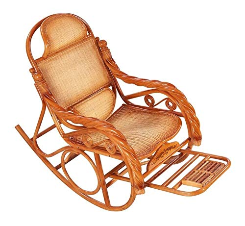 Home Furniture Comfortable Meditation Chair Rocking Chair with Foot Massage and Pillow Rattan Backrest and Armrests Relaxing Recliner Chair for Living Room, Patio and Terrace Bedroom Garden Relax Furn