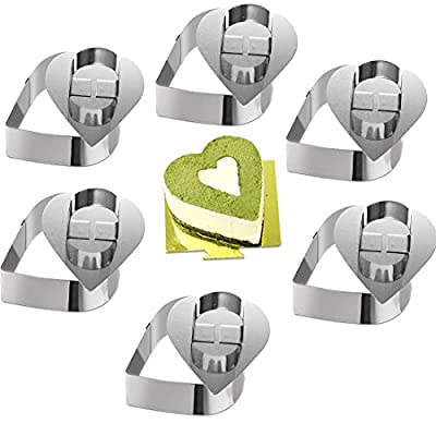 ONEDONECake Molds Stainless Steel Cake Rings Cake Mousse Mold with Pusher,3.15in Diameter, Set of 6
