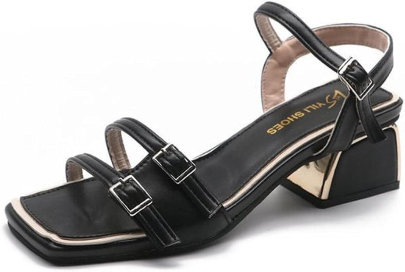 DaVanck Thick-Heeled Sandals Female 2021 Summer Mid-Heeled Fairy with Fashionable Sandals Female Comfortable All-Match Sandals Black