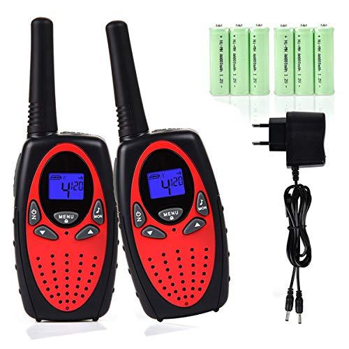 Miavogo 2 x Walkie Talkies Set für Kinder Funkgerät PMR 2-Wege Radio 8 Kanäle 3Km Reichweite mit LC-Display (Rot)