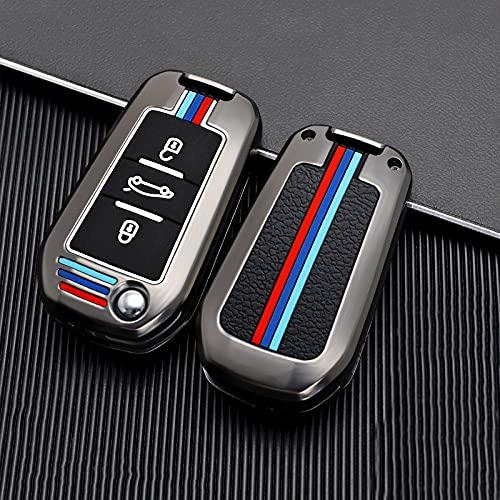 Carcasa para llave de coche resistente a los arañazos, con 3 botones, para Citroen C4 Cactus C5 C3 C4L C6, Peugeot 508 301 2008 3008 308 408 RCZ 4008 (marrón, con cuerda)
