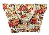 CAPRIUM Strandtasche mit Blumen Muster und Reißverschluss XXL Schultertasche Shopper Badetasche...