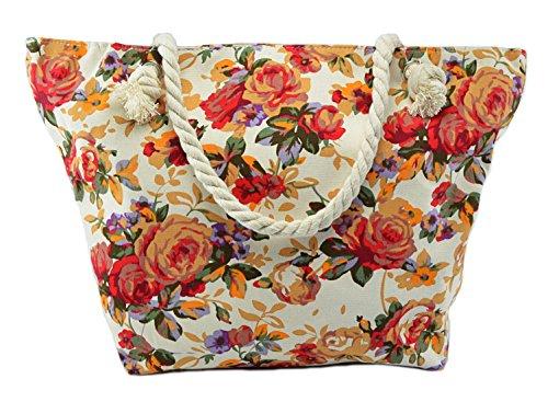 CAPRIUM Strandtasche mit Blumen Muster und Reißverschluss XXL Schultertasche Shopper Badetasche Damen 0009017 Farbe Mehrfarbig