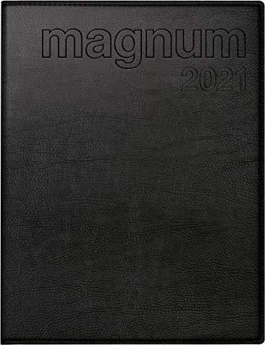 rido/idé 7027064901 Buchkalender magnum, 2 Seiten = 1 Woche, 183 x 240 mm, Kunstleder-Einband Prestige schwarz, Kalendarium 2021