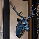 Suge Asta de Ciervo HeadSculpture Decoración, Simulación Wall Deer Cabeza Colgando de Fondo decoración de la Pared Cabeza de Animal Retro Creativo de la Sala decoración de la Pared (Color : Blue)