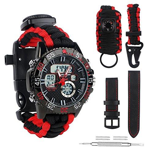 BlueStraw Herren Frauen Survival Analog Digital Uhr, wasserdicht Tactical Dual Time Display Notfall Sports Armbanduhr 5 Zeit Mustern verstellbar 3 austauschbare Armbänder Alarm Uhr mit Survival Gear