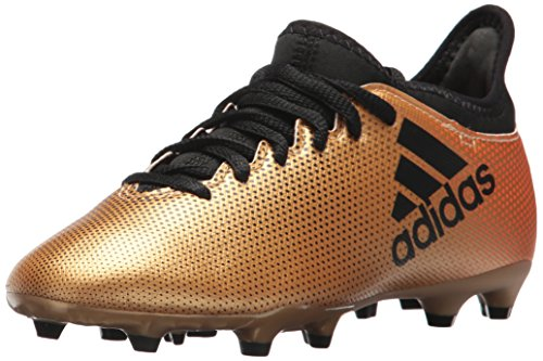 adidas X 17.3 FG J Botas de Fútbol para Niño, Negro / Rojo Solar / Naranja Solar, 12M, US Little Kid