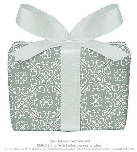3er-Set Geschenkpapier Bögen UNIVERSAL in Olive GRÜN mit Ornamente zu jedem Anlass • Für Geburtstage, Hochzeit, Weihnachtsgeschenke, Adventskalender • Format : 50 x 70 cm