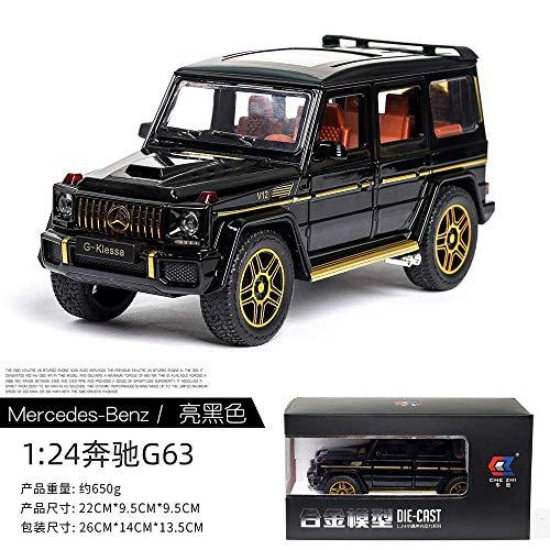 Uno y veinticuatro de coches de juguete diecast metal del modelo de tracción ruedas del vehículo G65 G63 alta simulación del sonido de la luz cuadro negro Enviar Volver coche de juguete ión-Porselein_