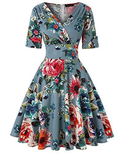MINTLIMIT Damen 50s Vintage Herbst Kleider V-Ausschnitt Halbe Ärmel Floral Tee Cocktail Party A-Linie Midi Kleider (Floral Dunkelblau,Größe S)