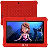[Upgraded] Contixo K1 HD 7' 6.0 Android Tablet for Kids, Bluetooth WiFi Dual Camera Parental Controls for Children with Durable Protection Case, Pre-Installed Learning Games & Education Apps - Red
