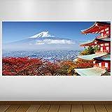 LagunaProject Extra Grande Rojo El Monte Fuji de Japón Cultura Vinilo Póster -...