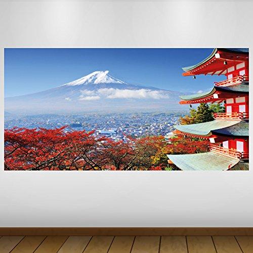 LagunaProject Extra Grande Rojo El Monte Fuji de Japón Cultura Vinilo Póster - Mural Decoración - Etiqueta de la Pared -140cm x 70cm