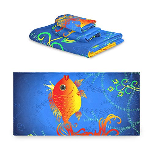 Rulyy - Juego de toallas de algodón para baño, diseño de peces dorados y algas marinas, 3 piezas, absorbente, toalla de mano suave, cuadrada, para cocina, baño al aire libre
