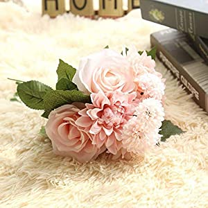 Artificial and Dried Flower 1 Bunch Rose Dahlia Artificial Flowers Silk Real Touch Fake Flower Bridal Bouquet for Wedding Decoration Home Garden Decor Flora
