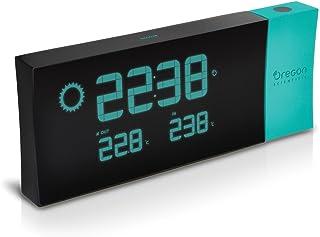 Oregon Scientific BAR223P - Estación meteorológica con reloj despertador, temperatura interior y exterior, alarma con función snooze, pantalla LED azul, color negro azul