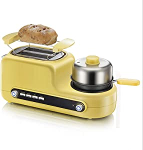 3 in 1 Breakfast Station Center, 2 Slice Toaster and Egg Maker, with 6 Bread Shade Settings, for Everyone Home, with Grill, Frying Pan, Steaming Egg Rack