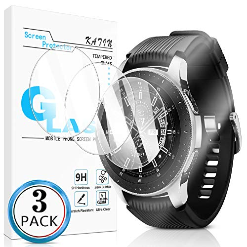 KATIN Galaxy Watch 46mm Screen Protector - [3-Pack] Tempered Glass for Samsung Galaxy Watch 46mm / Gear S3 Classic/Gear S3 Frontier Bubble Free with Lifetime Replacement Warranty