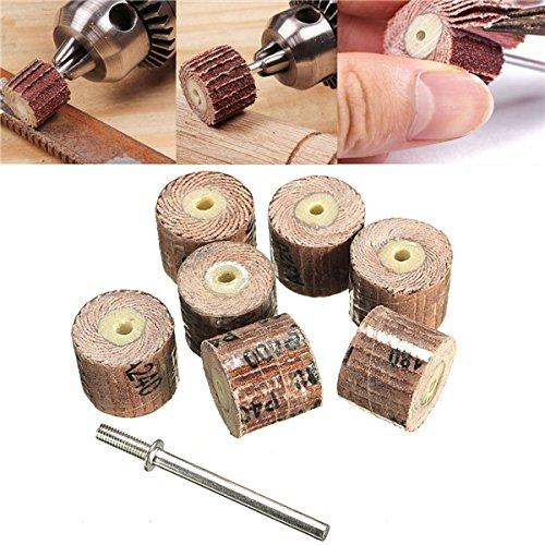 ILS 7 stuks wielslijper 80-600 korrel met een draaigereedschap in Dremel haakse slijper 1/8 inch boorhouder