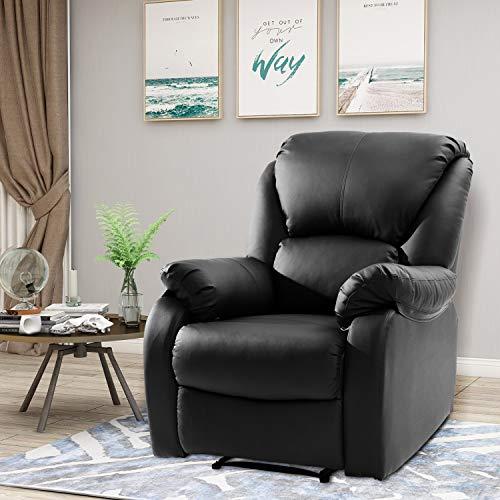 Lazyspace Sillón reclinable para TV, sillón reclinable de piel sintética, sofá inclinable, sillón de respaldo alto, para el hogar, sala de estar, juegos, cine (negro)