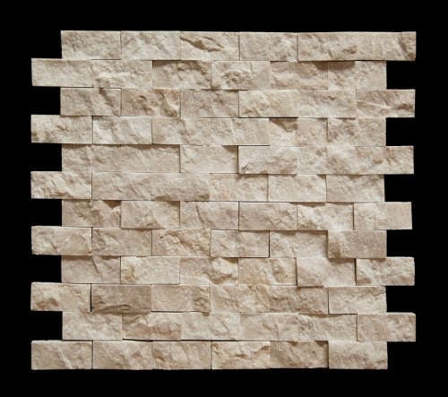 Botticino 1X2 Marble Split-Faced Mosaic Tile