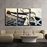 wall26 - 3 Piece Canvas Wall Art - Film Camera Chalkboard and Roll on Wooden Table - Modern Home Art Stretched and Framed Ready to Hang - 16'x24'x3 Panels