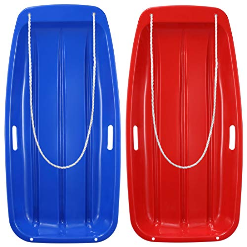Boenoea Plastic Snow Sleds for Kids and Adult Blue Red 2 Pack 35inch