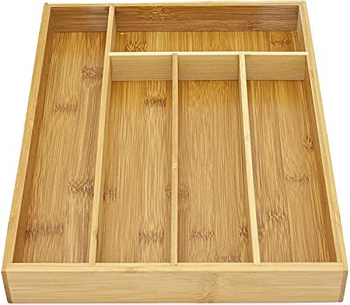 ORGANIZADOR DE CUBIERTOS. Compartimento porta utensilios para el cajón. Bandeja para cubiertos (BAMBU 34X26X4)