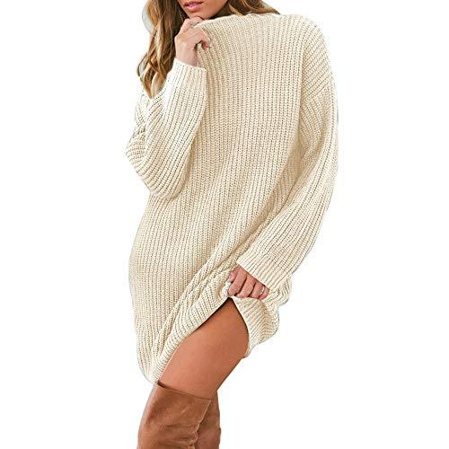 Deelin dames oversize losse crew nek mode casual solide kleur herfst winter gebreide trui mini jurk