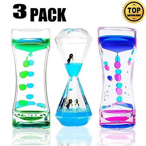 WHIMSYYY 3 Pack Liquid Motion Bubbler Timer Sensory Calming Fidget Toy Autism Community Toys for Kids Teenager Adults(Marine Animals Random) (2#Style Motion Bubbler)
