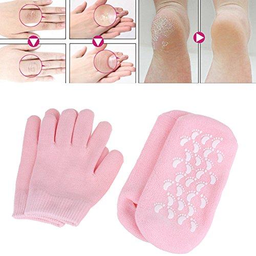 Moisturizing Gloves, Moisturizing Socks, Gel Gloves and Gel Socks for Dry Cracked Heels &Hands Treatment,Spa Gloves and Spa Socks for heal dry cracked feet Men & Women Large size overnight