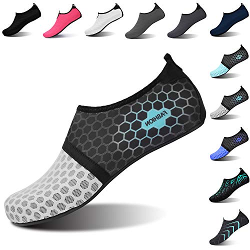 L-RUN Womens Water Shoes Aqua Socks for Beach Dot_Grey...