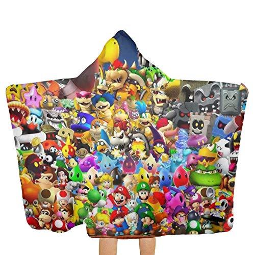 DJNGN Super Ma-r-i-o Bros Toalla de playa con capucha de dibujos animados con capucha Toallas de baño de playa Toallas de baño de secado rápido para viajes Camping Toallas de piscina en carrito de pla