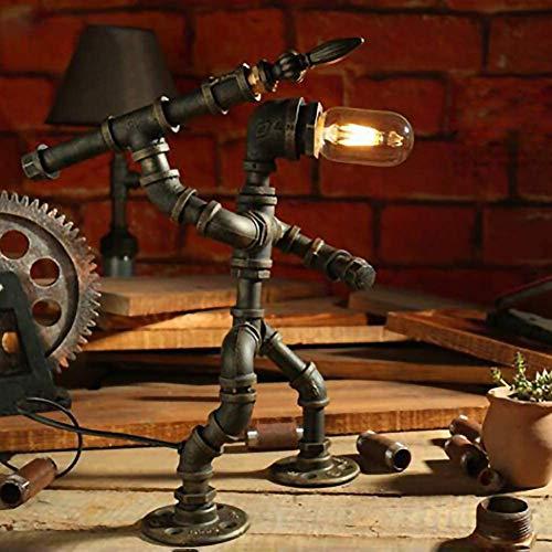 Vintage Lámparas De Escritorio Industriales - Steampunk Metal Hierro Labrado Tubería De...