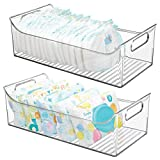 mDesign Wide Storage Organizer Container Bin with Handles for Kids/Child Supplies in Kitchen, Pantry, Nursery, Bedroom, Playroom - Holds Snacks, Bottles, Baby Food - BPA Free, 16' Long, 2 Pack - Clear