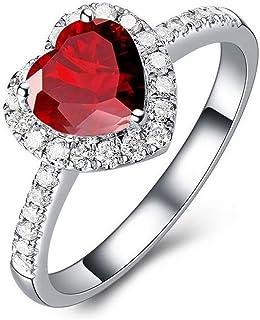 MFHUNX 14K ذهب أبيض مطلي خواتم القلب للنساء مكعب زركونيا الماس خواتم لوعدها زفاف خاتم الخطوبة للبنات الحجم 6-10