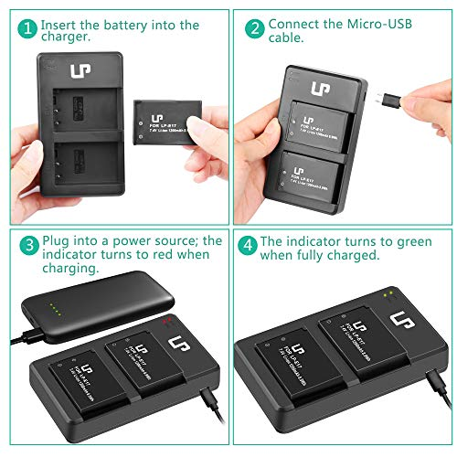 LP-E17 Battery Charger Pack, LP 2-Pack Battery & Dual Slot Charger, Compatible with Canon EOS RP, Rebel T7i, T6i, T6s, SL3, SL2, 77D, 8000D, 800D, 760D, 750D, 200D, M6, M5, M3 DSLR Cameras & More